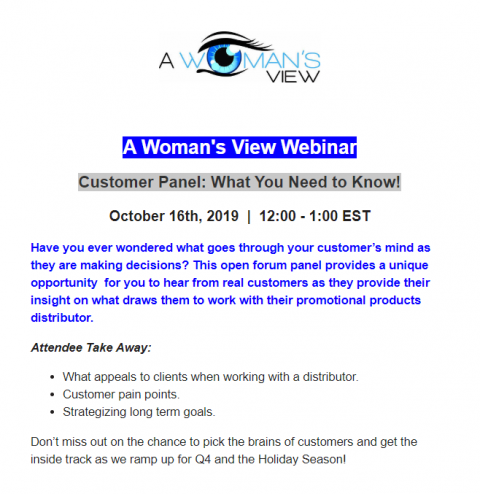 A Woman's View Webinar – Customer Panel: What You Need to Know!